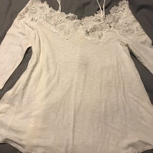 White off the shoulder top from Anthropologie